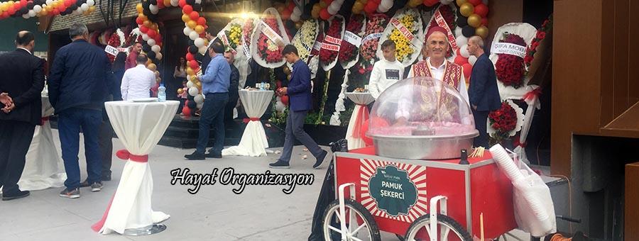 açılış organizasyonu pamuk şekeri arabası