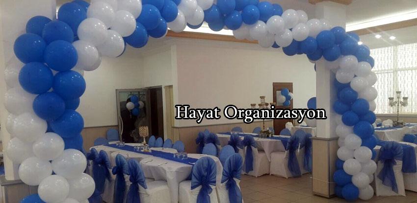 mavi beyaz balon süsleme sünnet düğünü